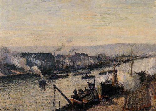 Le Pont Boieldieu à Rouen, soleil couchant, temps brumeux Camille Pissaro, 1896
