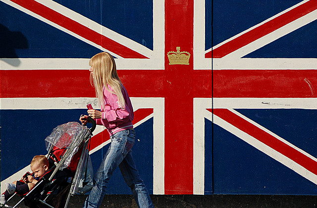 British flag (Union Jack), young girl and a kid in a pram by Anna & Michal via Flickr